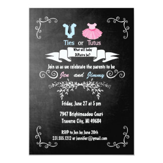 Ties or Tutus Gender Reveal Invitation Baby Shower