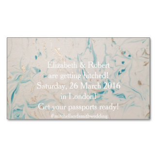 Tiffany Aqua and Champagne Gold Marble Business Card Magnet