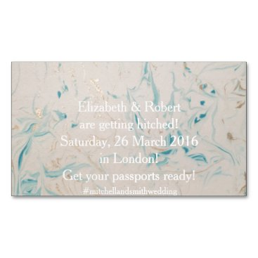 Beach Themed Tiffany Aqua and Champagne Gold Marble Business Card Magnet