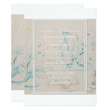 Beach Themed Tiffany Aqua and Champagne Gold Marble Card