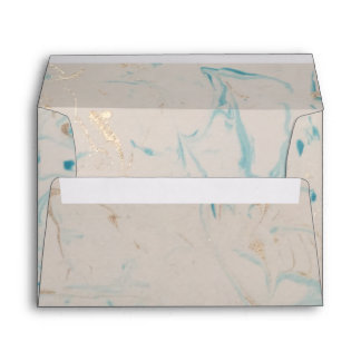 Tiffany Aqua and Champagne Gold Marble Envelope