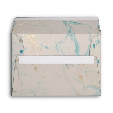 Beach Themed Tiffany Aqua and Champagne Gold Marble Envelope