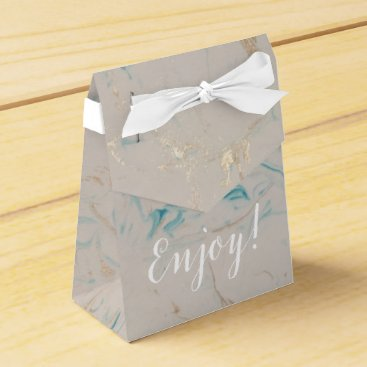 Beach Themed Tiffany Aqua and Champagne Gold Marble Favor Box