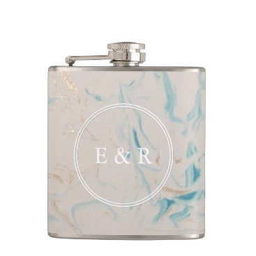 Beach Themed Tiffany Aqua and Champagne Gold Marble Hip Flask