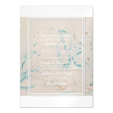 Beach Themed Tiffany Aqua and Champagne Gold Marble Magnetic Card