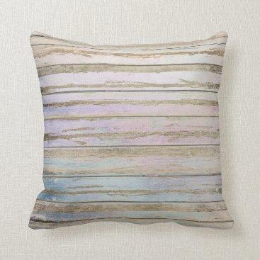 Beach Themed Tiffany Aqua Beach Home Denim Wood Gold Stripes Throw Pillow