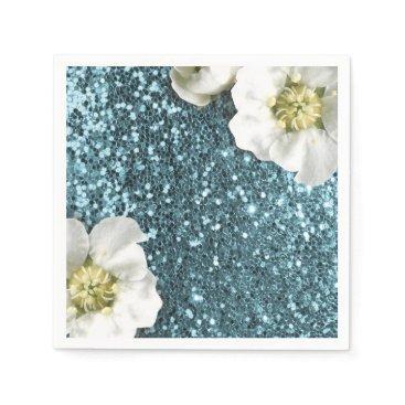 Tiffany Aqua  Beach Jasmin Glitter Sequin Sparkl Paper Napkin