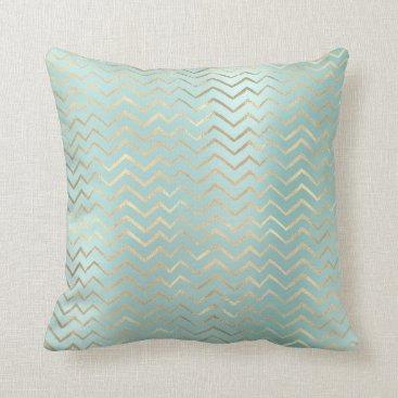 McTiffany Tiffany Aqua Tiffany Aqua Blue Gold Metal Zig Zag Chevron Throw Pillow
