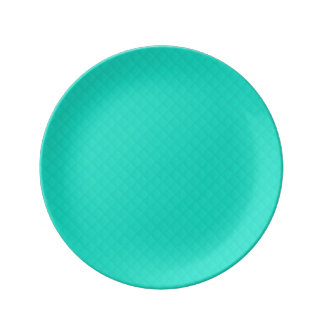 Tiffany Aqua Blue Quilted Pattern Porcelain Plate
