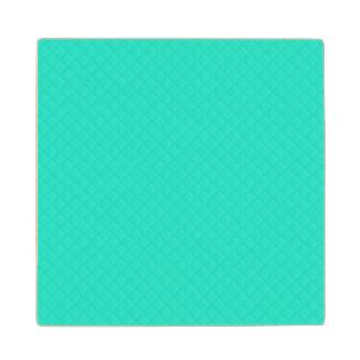 Tiffany Aqua Blue Quilted Pattern Wood Coaster