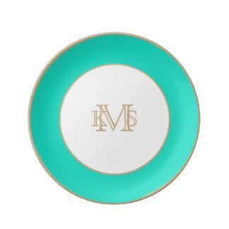 Tiffany Aqua Blue Quilted Pattern Porcelain Plates
