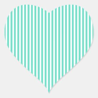 Tiffany Aqua Blue Sailor Stripes Heart Sticker