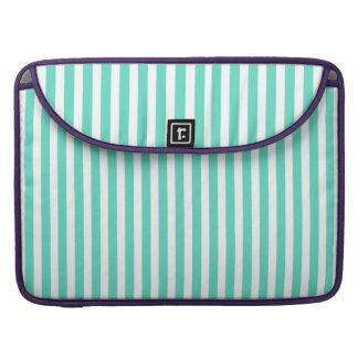 Tiffany Aqua Blue Sailor Stripes Sleeves For MacBook Pro
