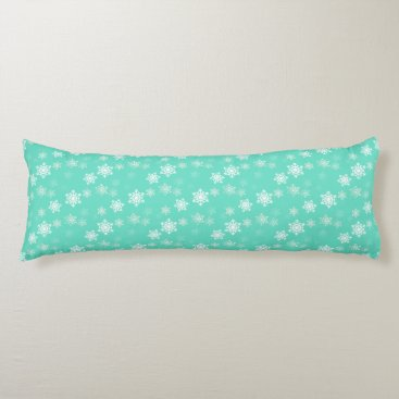 Beach Themed Tiffany Aqua Blue Snow Flurries Body Pillow
