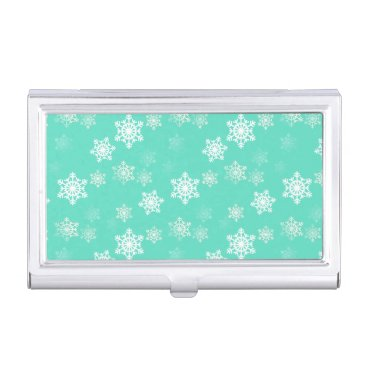 Aqua Tiffany Aqua Blue Snow Flurries Business Card Holder