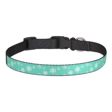 Beach Themed Tiffany Aqua Blue Snow Flurries Pet Collar