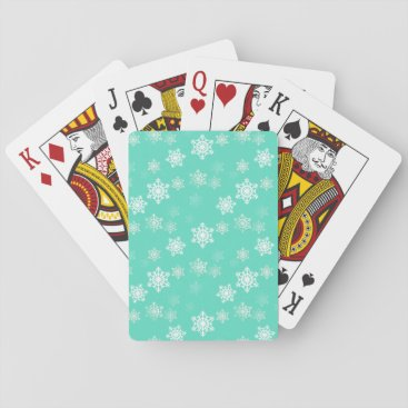 Aztec Themed Tiffany Aqua Blue Snow Flurries Playing Cards