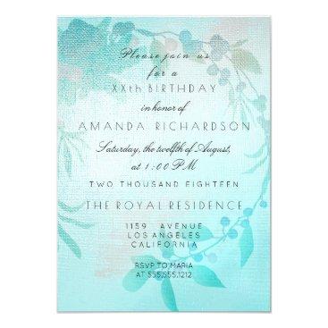 Beach Themed Tiffany Aqua Floral Peach Kraft Birthday Card