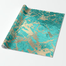 Tiffany Aqua Gold Marble Shiny Metallic Glass VIP Wrapping Paper