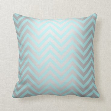 Beach Themed Tiffany Aqua Mint Ocean Blue Beach Chevron Silver Throw Pillow