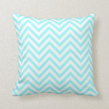 Beach Themed Tiffany Aqua Mint Ocean Blue Beach Chevron White Throw Pillow
