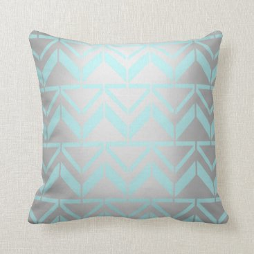 Beach Themed Tiffany Aqua Mint Ocean Blue Beach Silver Ethnical Throw Pillow