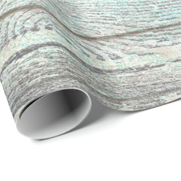 McTiffany Tiffany Aqua Tiffany Aqua Ocean Beach Silver Gray Wood Rustic Wrapping Paper