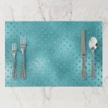 "Tiffany Aqua Ocean Glass Dots Blue Crystals Paper Placemat<br><div class=""desc"">florenceK luxury glam decor</div>"