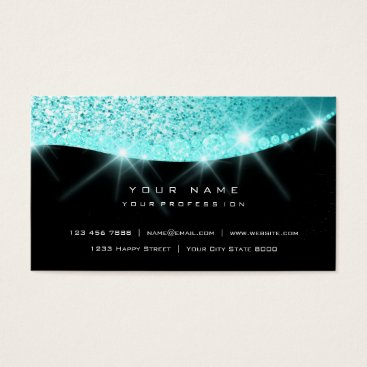 McTiffany Tiffany Aqua Tiffany Aqua Sparkly Diamond Glitter Glam Black Business Card