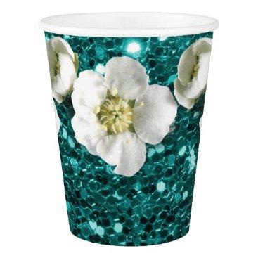 Tiffany Aquatic Blue Glitter  Flower Jasmin Sequin Paper Cup