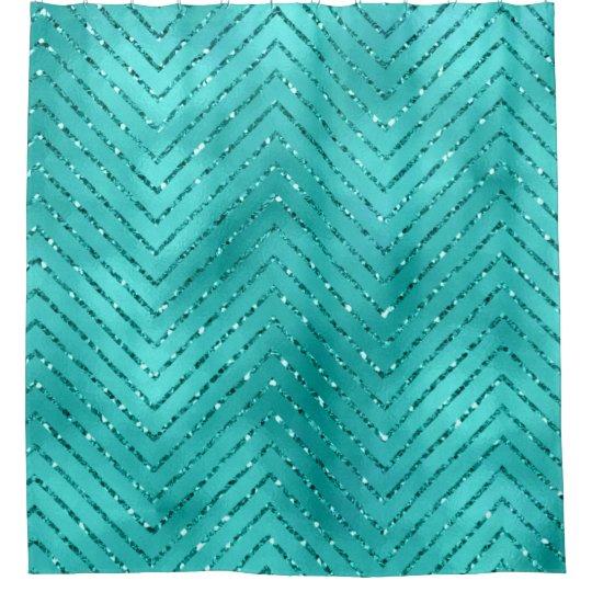 Tiffany Aquatic Blue Metallic Crystal Chevron Glas Shower Curtain