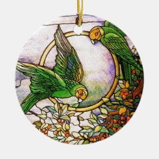 Tiffany Art Nouveau Stained Glass Parrots Ornament