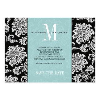 Tiffany Black Monogram Damask Save The Date Invite