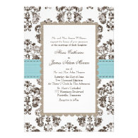 Tiffany Blue and Brown Damask Wedding Invitations