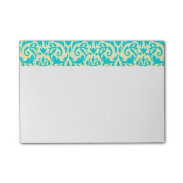 McTiffany Tiffany Aqua Tiffany blue and cream damask post it sticky notes