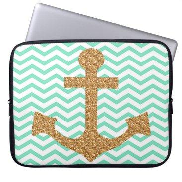 McTiffany Tiffany Aqua Tiffany Blue and Gold Anchor Laptop Sleeve