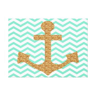 McTiffany Tiffany Aqua Tiffany Blue and Gold Anchor Wrapped Canvas