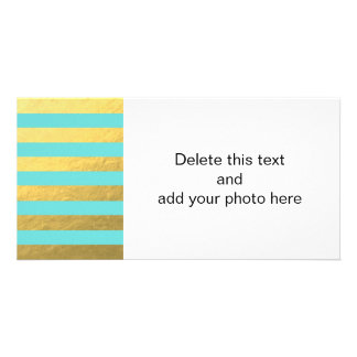 Tiffany Blue and Gold Foil Stripes Printed Card