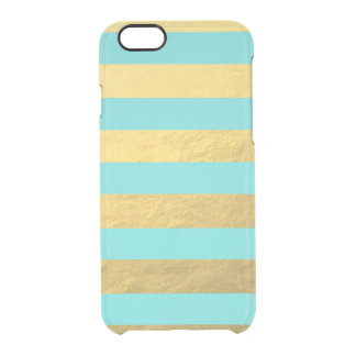 Tiffany Blue and Gold Foil Stripes Printed Clear iPhone 6/6S Case