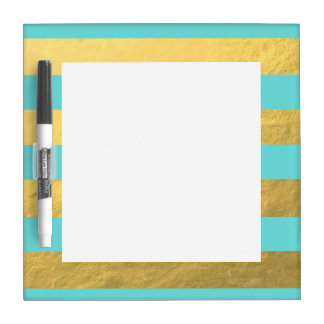 Tiffany Blue and Gold Foil Stripes Printed Dry-Erase Board