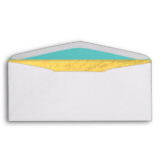 Tiffany Blue and Gold Foil Stripes Printed Envelope