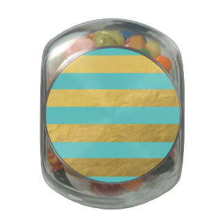 Tiffany Blue and Gold Foil Stripes Printed Glass Jar