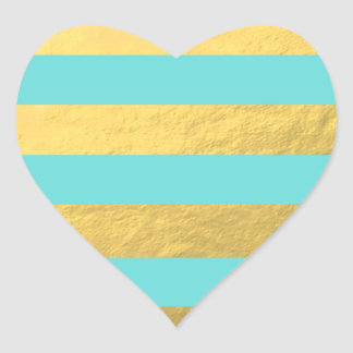 Tiffany Blue and Gold Foil Stripes Printed Heart Sticker