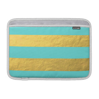 Tiffany Blue and Gold Foil Stripes Printed Sleeves For MacBook Air