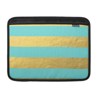 Tiffany Blue and Gold Foil Stripes Printed Sleeve For MacBook Air