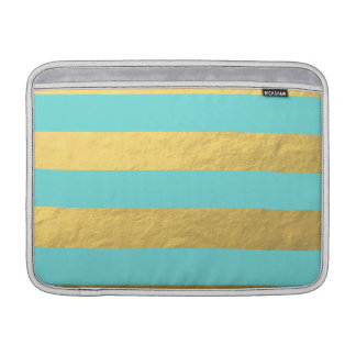 Tiffany Blue and Gold Foil Stripes Printed MacBook Sleeves