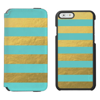 Tiffany Blue and Gold Foil Stripes Printed iPhone 6/6s Wallet Case