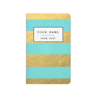 Tiffany Blue and Gold Foil Stripes Printed Journal