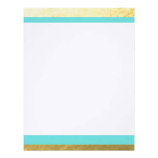 Tiffany Blue and Gold Foil Stripes Printed Letterhead