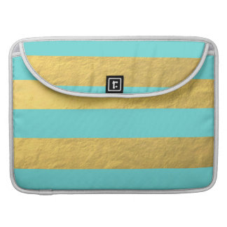 Tiffany Blue and Gold Foil Stripes Printed MacBook Pro Sleeves